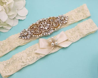 Gold Bridal Garter Set, Gold Wedding Garter Lace, Wedding Toss Garter Set, Lace Rhinestone Garter Set, Rustic Garter Set 447