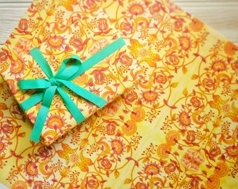 Indian Summer | Gift Wrap | Wrapping Paper Sheet | Yellow | Print | Illustrated Paper | Bright | Floral | Print | Pattern | Any Occasion