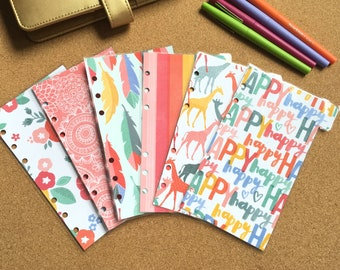 Set of 6 Planner dividers / Personal Planner Accessories / Planner Inserts / Personal planner / Filofax / Pocket Planner / A5 Planner