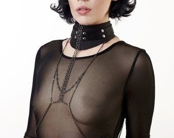 Leather collar BDSM, BDSM day collar, discreet collar, fetish collar, black leather collar with body chain