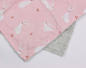 The Cutest Bunnies on Baby Pink Security Blanket Lovie with Pink or Light Gray Minky Dot