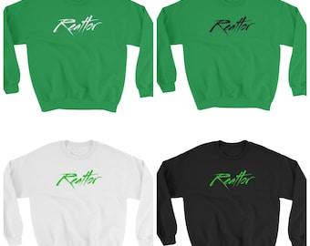 Real Estate Apparel, realtor, green, black and white men Sweatshirt