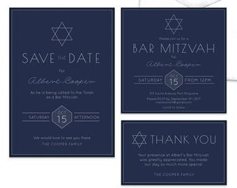 Bat & Bar Mitzvah Invitation Suite Religious CelebrationJewish Invitation, Save the Date, Thank You Card Star of David
