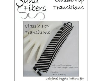 Peyote Pattern - Classic Pop Transitions  Peyote Cuff / Bracelet  - A Sand Fibers For Personal/Commercial Use PDF Pattern