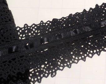 Vintage Lace Trim Cluny Lace Trim Cotton Lace Black Satin Ribbon