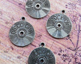 Record/CD Disc Charms -4 pieces-(Antique Pewter Silver Finish)--style 671--Free combined shipping