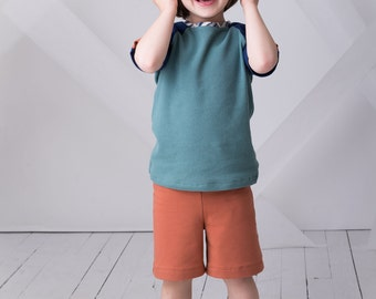 Boys Organic Cotton Shorts, Toddler Shorts, Channel Shorts, Sizes 12m-24m, 2t, 3t, 4t, 5, 6, 7, 8