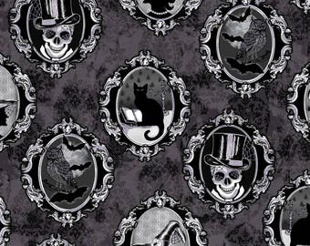 Fright Night fabric - Spooky Portrait by First Blush Studio for Henry Glass 1109 M - Black Metallic - Priced by the 1/2 yard