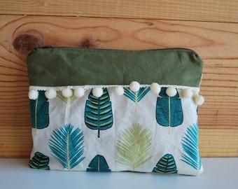cotton khaki white leaf motifs makeup pouch