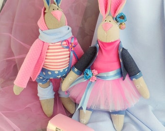 Mr. and Mrs. Rabbit. Handmade interrior dolls set. One of a kind.