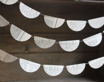 Party Decorations, Paper Garland, Book Page Garland, Dictionary Pages, Paper Bunting, Vintage Book Party Decorations, 10 ft long
