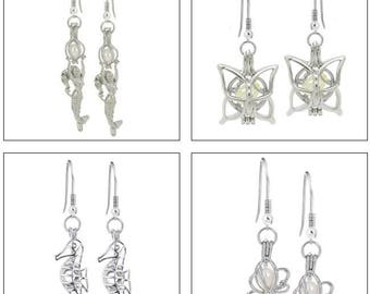 MERZIEs pearl CAGE silver Mermaid Seahorse Fantasy Butterfly Insect U Pick earrings - SHIPs from USA