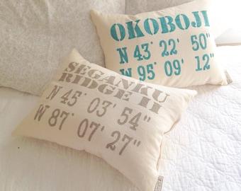 Wedding Coordinates Pillow - personalized gps coordinates, personalized wedding gift, latitude longitude pillow, GPS Coordinates Gift