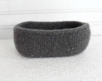 Charcoal Gray Wool Oval Basket , Knit Felt Storage Basket, Boiled Wool Storage Basket, Grey Wool Storage Container, Gray Wool Felt Bowl