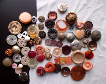 Vintage Buttons: Brown, Tan, Neutral, Wood, Metal