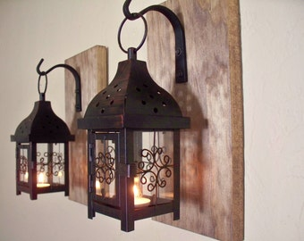 Lantern set.  Wall decor, wall sconces, housewarming gift, bathroom decor, wrought iron hook, rustic wood boards