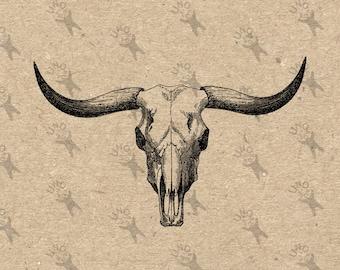 Bull Buffalo Skull Vintage Bild Instant Download Digital bedruckbare Clipart Grafik Sackleinen Stoff übertragen Eisen auf Dekor T-shirt HQ 300dpi