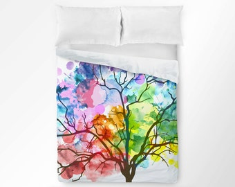 Tree Duvet Cover, Watercolor Duvet, Rainbow Duvet Cover, Modern Duvet Cover, Art Bedding, Colorful Bedding, King Queen Twin Duvet Cover