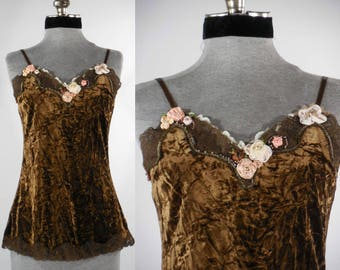 Vintage inspired upcycled altered chemise camisole top blouse gypsy hippie hand embroidery size small