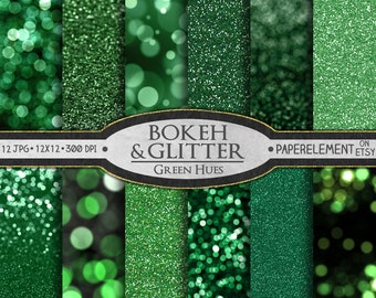 Green Glitter Paper: Green Glitter Digital Paper, Green Digital Backgrounds, Christmas Green Bokeh Backdrops, Printable Holiday Colors