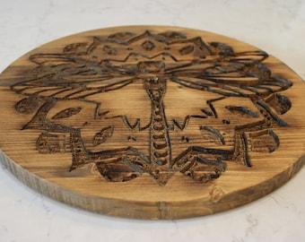 Wooden Dragonfly Crystal Grid
