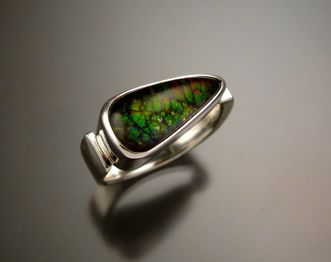 Ammolite and Quartz Doublet ring Sterling silver size 10 to 11 Mans Opal substitute Handmade Ring