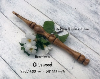 Hand-turned Olivewood Ergonomic  Crochet Hook  Sz G / 4.00 mm