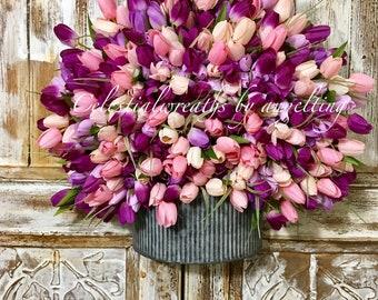 spring wreath - summer Wreaths - Frontdoor wreath - Door wreath - mothers day - housewarming - outdoor wreath-tulip wreath