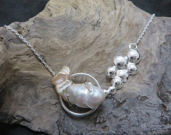 """Sterling silver with large baroque Pearl called """"Flameball"""" necklace"""