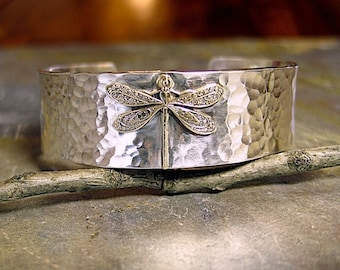 Dragonfly Cuff Bracelet in Hammered Sterling Silver - Enchanted Dragonfly