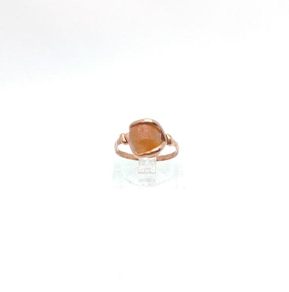 Rustic Stone Ring   Rustic Gemstone Ring   Copper Ring Sz 5.25   Raw Stone Ring   Rough Stone Ring   Carnelian Agate Ring   Raw Carnelian
