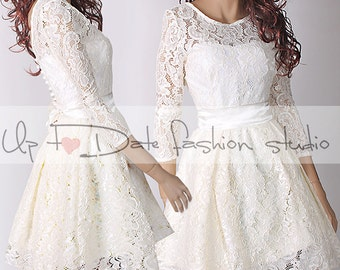 Plus Size reception  /ivory bridesmaid /romantic / wedding party / short  lace dress