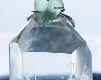 Silver Blue Sea Glass Ring - Beach Boho Hippy Travelling