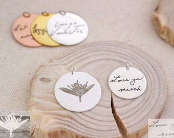 Engraved Signature Disc - Actual Handwriting Charm - Mother Gift - Christmas Gift
