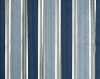 Custom Shower Curtain //  Waverly Blue Stripe // Stall// Choose Size // Buttonholes// 72 x 72 // Extra Wide or Narrow