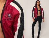 49ers Jacket HOODED Football Jacket Nfl Jacket San Francisco Forty Niners HOODIE 90s Streetwear Coat Hood Vintage Large