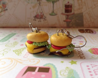 Cheese burger earrings- food jewelry- polymer clay