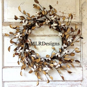 Cotton Wreath, Natural, Rustic, Fixer Upper, HGTV Wreath, Farmhouse wreath, 2nd Anniversary,