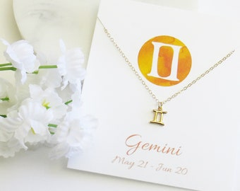 Gemini Necklace, Gemini Jewelry, Zodiac Necklace, Zodiac Gift, Best Friend Necklace, Birthday Gift, Mother's Day Gift, Bridesmaid Gift