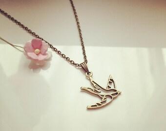 Short chain open swallow, vintage, bird, flying, freedom