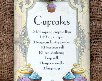 Cupcake Recipe Gift or Scrapbook Tags or Magnet #492