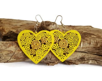 Yellow wood heart earrings
