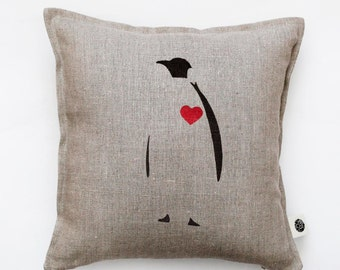 Valentines day pillow, Penguin pillow  Decorative pillow cover with red heart, cushion cover Throw pillow Valentines day pillow gift   0153