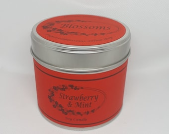 Strawberry and Mint Soy Wax Hand Made Wood Wick Tin Candle