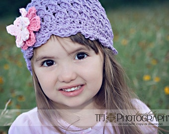 12-24 months Girl Crochet Hat, Kids Hat, Flapper Hat, Cloche Hat, Childrens Hat, Purple Hat, Violet Hat, Hat with Flowers, Hat for Girls