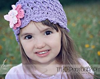 Lavender Baby Hat with Flowers, 6-12 Months Winter Hat, Purple Crochet Hat, Violet Girls Winter Hat, Crochet Winter Beanie, Shell Beanie Hat