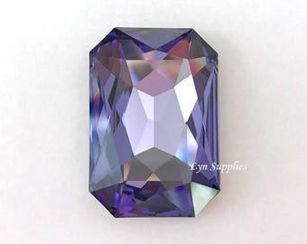 4627 TANZANITE 27x18.5mm Swarovski Crystal Rectangle Octagon, Purple December Birthstone