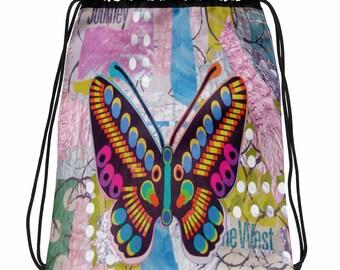 Drawstring bag, Butterfly Collage, Original Art Work by Anna Centurione, Printed Bag, Drawstring  bag, printed bags, drawstring backpack