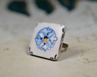 White flower ring, Blue flower ring, Flower jewelry, Gift for her, Womens gift, White jewelry, White and blue, Blue and white, White ring