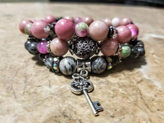 3 Strand Diffuser Power Bracelets - Rhodonite, Agate, Snowflake Obsidian and Lava rock. Yoga, meditation, chakra, mala, buddhist, reiki